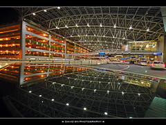Reflection of Portland International Airport at Night (David Gn Photography) Tags: reflection night oregon portland airport pdx hdr portlandinternationalairport sigma1020mmf35exdchsm canoneosrebelt1i