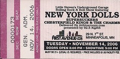 11/14/06 New York Dolls/Supersuckers/The Charms/Chesterfield Kings @ Minneapolis, MN (Ticket)