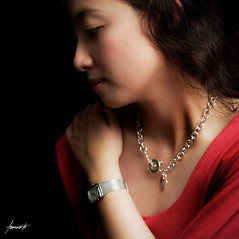 Basking In The Light of Beauty (Tomasito.!) Tags: light red portrait woman fashion necklace nikon philippines watch reddress d90 strobist