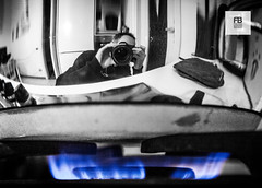 Potful (Felice Bassani) Tags: blue bw italy house selfportrait reflection kitchen canon fire casa italia blu steel bn gas fisheye pot flame stove mirrored 5d autoritratto cooker fuoco stainless cucina fiamma lucido methane riflesso acciaio pentola metano potful