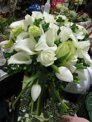 Hand wrapped brides bouquet of winter whites (LenaeDenson.com) Tags: flowers wedding roses white green berries lily hydrangea callalily weddingflowers bouquets redroses attendants centerpieces stephanotis whitehydrangeas clearvase bridesbouquets greenbuttonmum anitquehydrangeas wrappedbouquets
