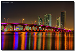 Rainbow Reflections in Biscayne Bay (Fraggle Red) Tags: pink water clouds reflections skyscrapers florida miami jpeg hdr condominiums biscaynebay 3xp canonefs1785mmf456isusm macarthurcswy anawesomeshot diamondclassphotographer flickdiamond biscayneisland miamidadeco theperfectphotographer dphdr goldstaraward flickrsmasterpieces