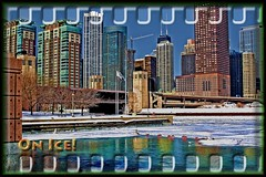 Downtown Chicago On Ice (C. Vizzone) Tags: city bridge blue winter friends sky urban orange white snow chicago cold green art film ice window water glass lines weather metal skyline photoshop buildings river season concrete town illinois aluminum downtown skyscrapers searchthebest steel cement january scenic shapes atmosphere scene best lakeshoredrive chicagoriver 1001nights johnhancock 2009 soe hdr buoy bridgehouse blueribbonwinner otw supershot addictedtoflickr buoyant platinumphoto anawesomeshot isawyoufirst citrit newacademy proudshopper theperfectphotographer coloursplosion goldstaraward rubyphotographer magicdonkeysbest alwaysexc finephotoshopdesign flickrsmasterpieces artistictreasurechest daarklands