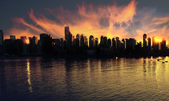 Vancouver-City on Fire (Jordy Brisbin : REALTOR) Tags: ocean park sunset sky skyline vancouver landscape fire evening downtown cityscape view artistic outdoor dusk britishcolumbia columbia stanley british mywinners aplusphoto