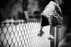Cold Head (koinis) Tags: bw white snow black hat fence john 50mm explore cap getty 18 twtmeblogged 400d koinberg koinis photowalkwithfredrik