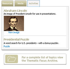 Thematic Focus - Activities Tab