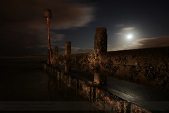 Mixing light (~Glen B~) Tags: sky moon beach night clouds coast shore paintingwithlight moonlight groyne torchlight redcar groynes
