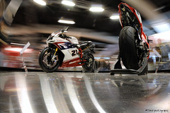 Ducati Corse (Toni_V) Tags: longexposure motion blur bike movement fisheye motorcycle sportbike ducati 2009 d300 fmp 105mm swissmoto toniv toniv messezrich 21022009