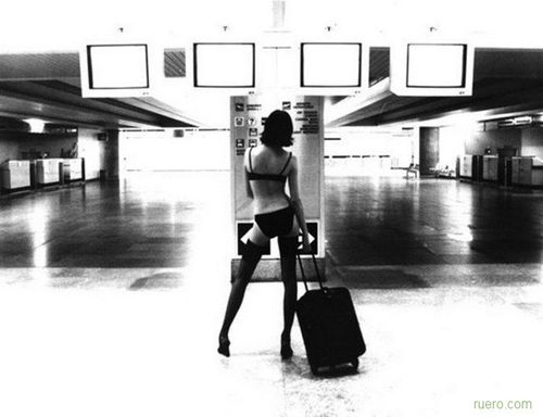 stockings and panties at the airport
