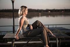 Hannah_20 (BrianRicePhoto) Tags: park sunset woman lake girl pond model flash hannah blond tanktop umbrellas picnictable pocketwizards speedlites canon430 canon580