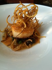 Scallop with french fried carrots and morels at  the Brown
