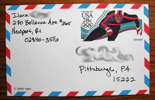 1983 Olympics airmail postcard