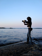 Midori photographing at sunset (em`lia) Tags: sunset summer lake beach swimming finland doll cottage moms volks momoko emlia