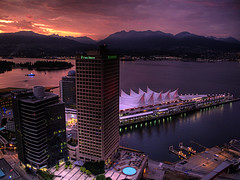 High Dynamic Sunset (ecstaticist) Tags: ocean park sunset sky orange cloud sun canada postprocessed color building water architecture night vancouver canon observation fire evening harbor downtown place harbour centre salt deck stanley promenade sail coal gastown hdr province postprocessing photomatix tonemapped tonemapping g10