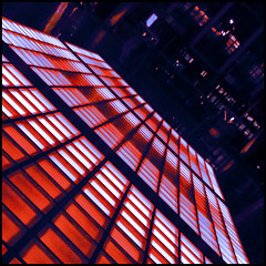 Toronto gone wild (barbera*) Tags: blue light red toronto glass lines night floor geometry bceplace floortiles barbera brookfieldplace firstd 043911