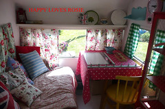 The creating and sleeping nook (HAPPY LOVES ROSIE) Tags: flowers red max green ikea yellow vintage garden happy strawberry deckchair cheeky next retro gingham caravan chic decor unionjack 1950 pram polkadot decorated blighty shabby cathkidston grannyblanket happylovesrosie frenchenamel bluecheck tanyawhelan vintex 2berth fisherholivan happyshabby bellingcooker