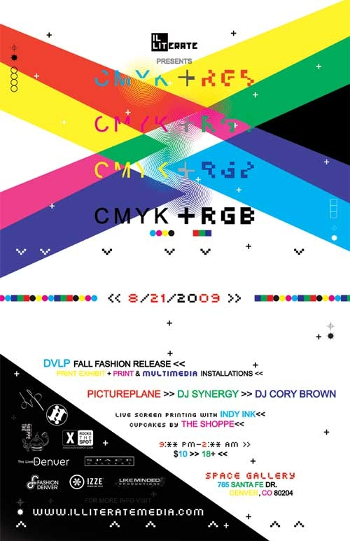 Illiterate Magazine CMYK + RGB show flier