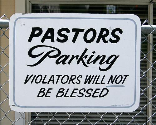 Pastor parking sign