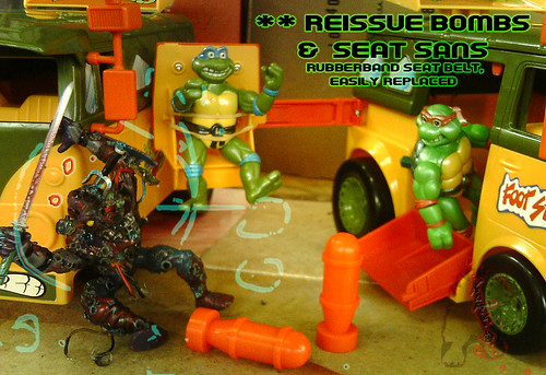 The tOkKa junkyard Car Show :: Classic Party Wagon vs. TMNT 25 Reissue //  Reissue Bombs & Swing-out Tenderizer Seat
