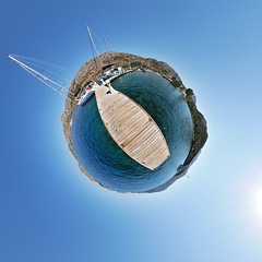 Water World (christian.senger) Tags: travel blue sea sky panorama sun water digital turkey geotagged outdoors harbor pier boat nikon asia mediterranean ship fisheye planet 360 d300 stereographic hugin st littleplanet smallplanet nikoncapturenx2 christian_senger:year=2009