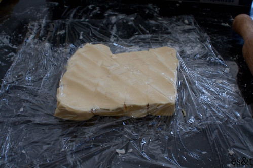 Flattened butter, ready to be incorporated in to the dough