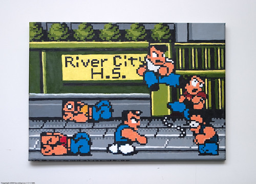 Painting: River City Ransom Street Fight by Adam Shub, Brooklyn Art Project HQ / Dumbo Arts Center: Art Under the Bridge Festival 2009 / 20090926.10D.54601.P1.CC / SML (by See-ming Lee 李思明 SML)
