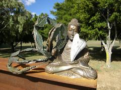 2008-01-27-Stoneleigh-2007-12-23-HE HE HE HE HA (russellstreet) Tags: newzealand sculpture auckland nzl manukau aucklandbotanicalgardens sculpturesinthegarden2007 stoneleighsculpturesinthegarden2007 heheheheha hehehehehaonreflection philneary