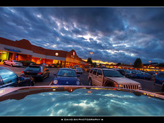Grocery Shopping - HDR (David Gn Photography) Tags: sunset storm reflection car clouds store fantastic groceryshopping parking safeway hdr moonroof photomatix sigma1020mmf35exdchsm canoneosrebelt1i