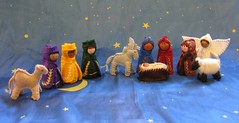 Nativity Set 1 Oct09 (Alkelda) Tags: christmas wool angel joseph doll king sheep embroidery mary jesus waldorf donkey felt noel camel manger etsy nativity needlecraft magi wisemen naturalkids alkelda