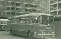 Southdown Motor Services . 1710 2710CD . Victoria Coach Station , London .  circa 1966 (AndrewHA's) Tags: bus coach tour victoria leopard cavalier leyland harrington l2 vcs southdown coachtour 2710cd