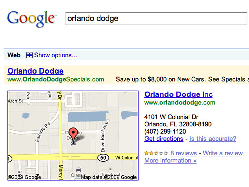 Google Maps One Box Bug?