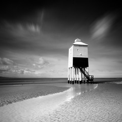 Burnham (le-spikey) Tags: bw cloud lighthouse white black beach wet square movement sand nikon stream long exposure solitude hard sigma somerset lee crop rippled 1020mm grad lead burnham burnhamonsea in nd110 06nd d300s