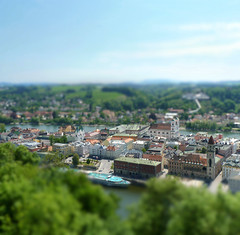 Passau caught between Danube and Inn river (B℮n) Tags: museum germany geotagged bayern bavaria three inn topf50 shift best rivers napoleon tilt viewpoint altstadt fortress bishop danube duitsland passau donau madurodam tiltshift oberhaus beieren vesteoberhaus ilz 50faves lowerbavaria bundesautobahn3 dreiflüssestadt romancolony cityofthreerivers towerofthevesteoberhaus geo:lon=13470382 geo:lat=48578358 anno1219