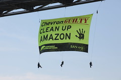 Standing Up to Chevron (Rainforest Action Network) Tags: california toxic justice ecuador amazon rainforest banner richmond pollution oil activism directaction chevron refinery ran guilty indigenous rainforestactionnetwork nonviolent richmondsanrafaelbridge cofan changechevron chevronguilty chevronguiltycleanupamazon