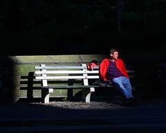 Caught in a Sunbeam (BumbyFoto) Tags: park nyc newyorkcity light sunset newyork evening spring centralpark