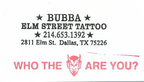 Bubba - Elm Street Tattoo - Artist Business Card by HeadOvMetal