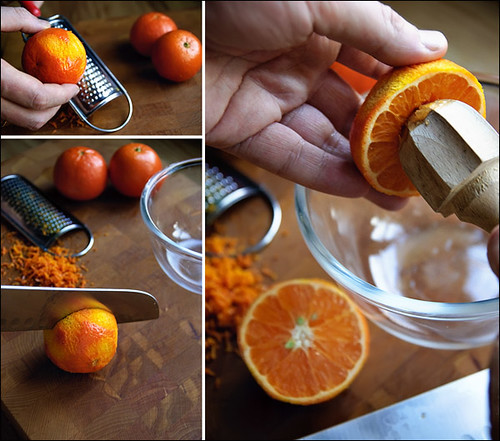 Grate the zest of all three tangerines, squeeze out the juice and