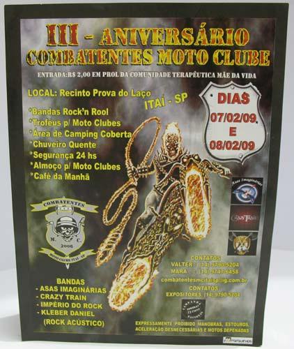 Convite 3º Aniversário Combatentes Moto Clube de Itaí-SP