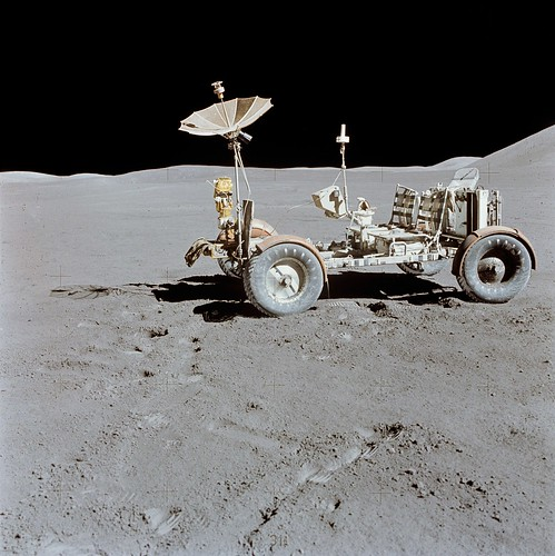 The old rover on the surface of the moon. (Courtesy NASA)