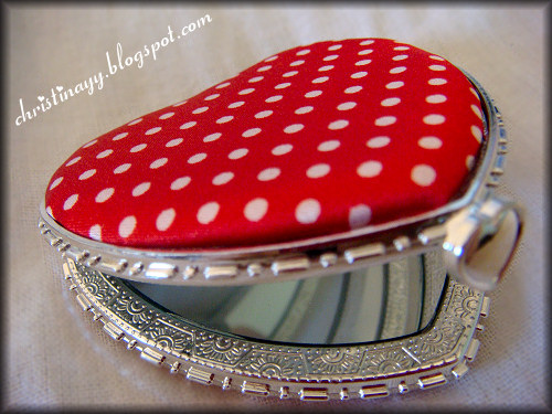 Equip's Red Heart Shaped Compact Mirror