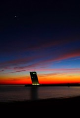 (t3mujin) Tags: ocean blue sunset orange reflection tower portugal clouds lisboa lisbon lx3 arqgonçalobyrne