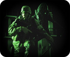 McFarlane Military vs NECA Alien IV (Ed Speir IV) Tags: movie toy soldier actionfigure alien aliens figure scifi horror mcfarlane miltary neca