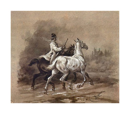 016-Krakowiak luzakiem con un caballo 1665-acuarela-Juliusz Kossak