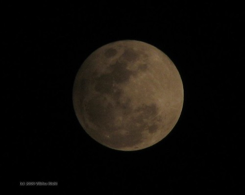 Moon with partial eclipse