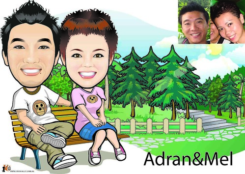 Custom Lovely Couple Garden Theme Caricature Drawing (Digital Caricature)