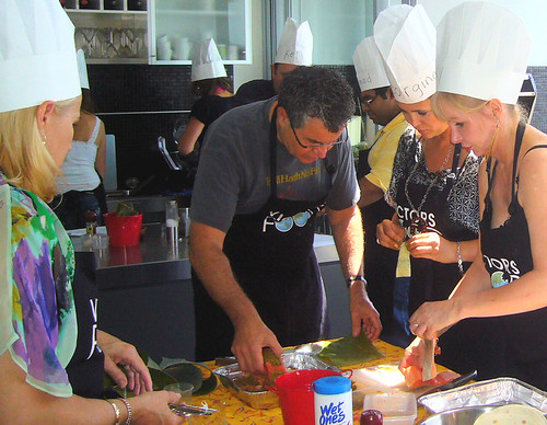 VictorsFood - Cooking Classes - Victor (c) and regular attendee Nicky Bell (r)