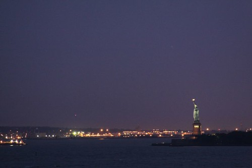 Statue of Liberty, seen from Manhattan.