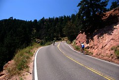 Bicyclists on Flagstaff Mountain (Let Ideas Compete) Tags: road usa bike bicycle america bicycling cycling climb us colorado tour unitedstates united hill boulder line climbing biking co biker essence states exploration touring bikers steep roadbike switchback yellowline bicyclists 80301