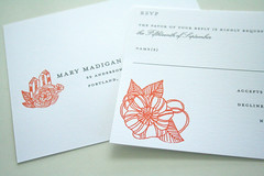 Seaside Wedding (Sarah Parrott) Tags: ocean flowers wedding sea house fall boats gocco invitation swallofield rspv parrottdesignstudio