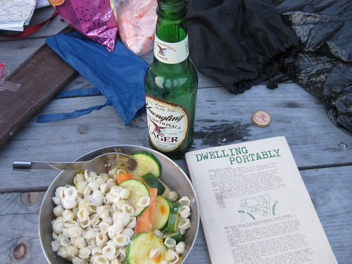 camping food and inspirational reading somewhere in the Helderbergs, 2009